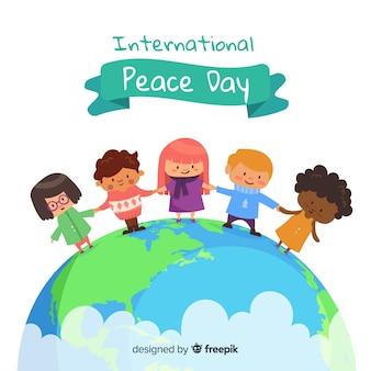 Bambini disegnati a mano di giorno di pace che si tengono per mano sulla terra