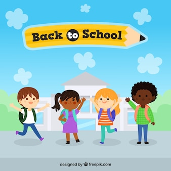 Bambini disegnati a mano pronti per tornare a scuola