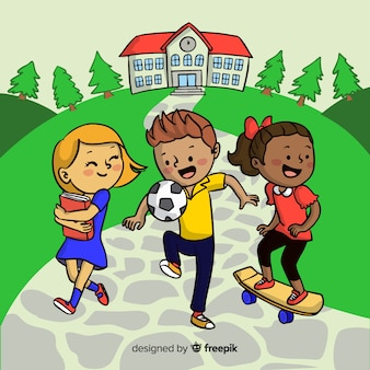 Bambini disegnati a mano torna a scuola