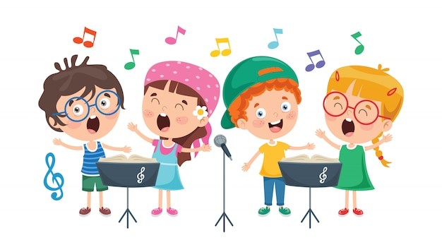 Bambini divertenti che eseguono musica
