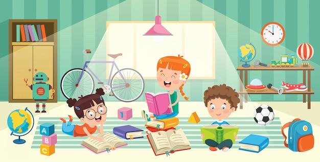 Bambini divertirsi in una stanza