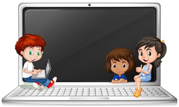 Bambini e computer portatile