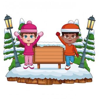 Bambini e con vignetta di inverno cornice in legno vuota