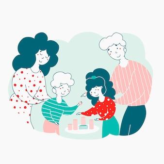 Bambini e genitori con l'illustrazione piana dei soldi