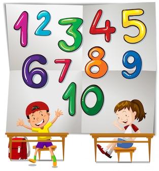 Bambini e numeri da uno a dieci