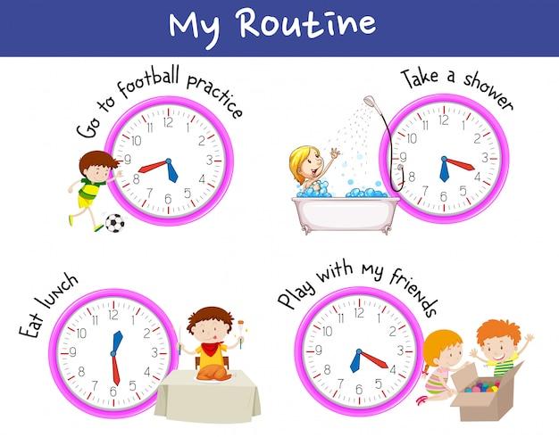 Bambini e routine in un giorno