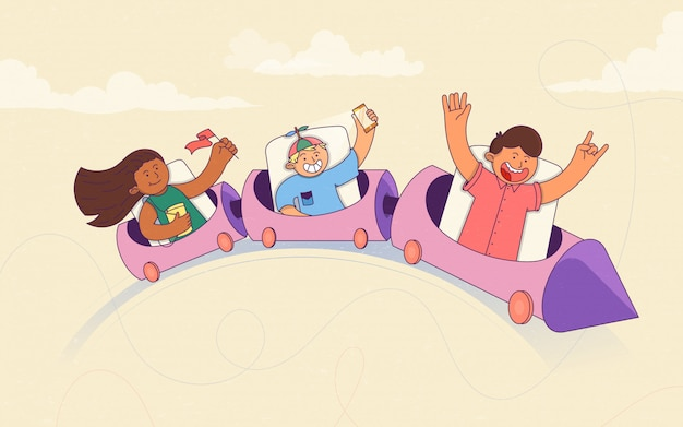 Bambini entusiasti in sella a una montagna russa. vacanze estive ed eventi. parco divertimenti