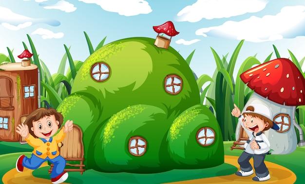 Bambini felici a casa di fantasia