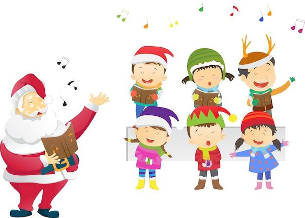 Bambini felici cantando canti natalizi con santa