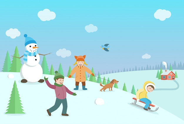 Bambini felici che giocano a giochi invernali. paesaggio invernale con boschi e colline. illustrazione di stile piatto