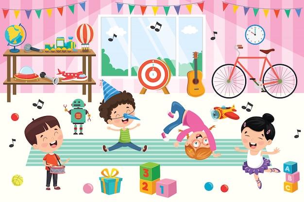 Bambini felici che giocano con i giocattoli
