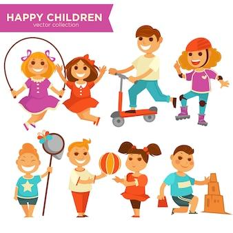 Bambini felici che giocano le icone di vettore dei giochi all'aperto messe