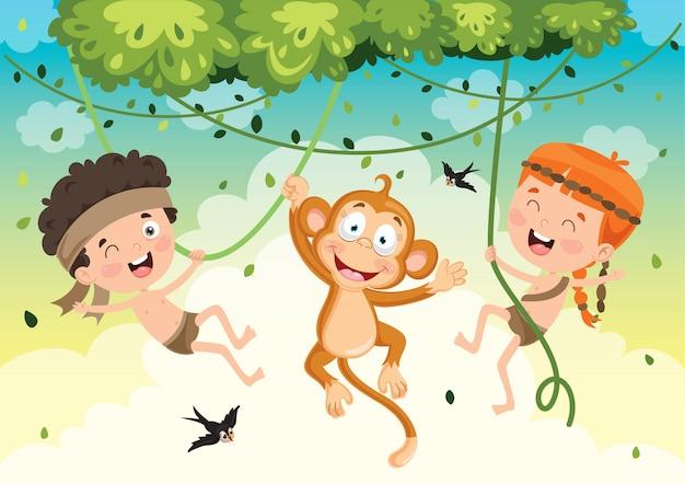 Bambini felici che oscillano con la scimmia nella giungla