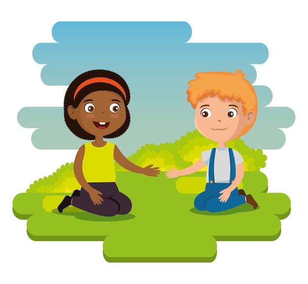 Bambini felici coppia personaggi