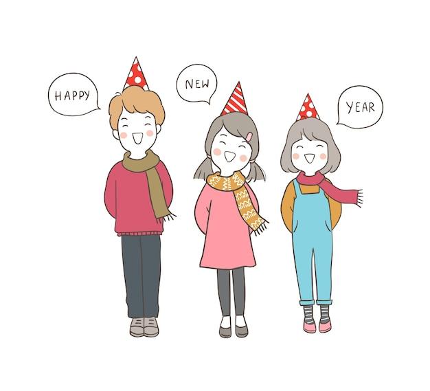 Bambini felici di carattere che dicono felice anno nuovo