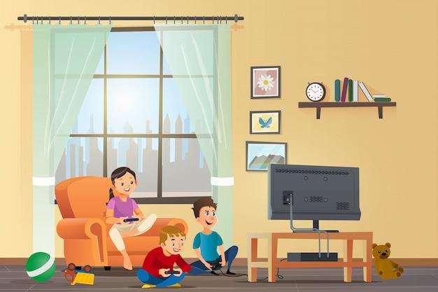 Bambini felici di concetto dell'illustrazione del fumetto di vettore