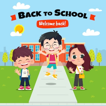 Bambini felici di nuovo al concetto di scuola
