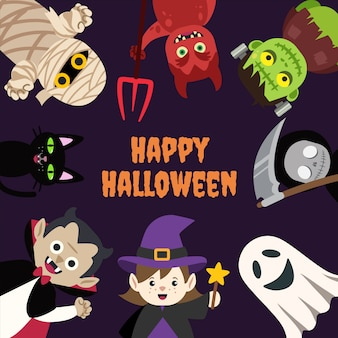 Bambini halloween cartoon monster con spazio