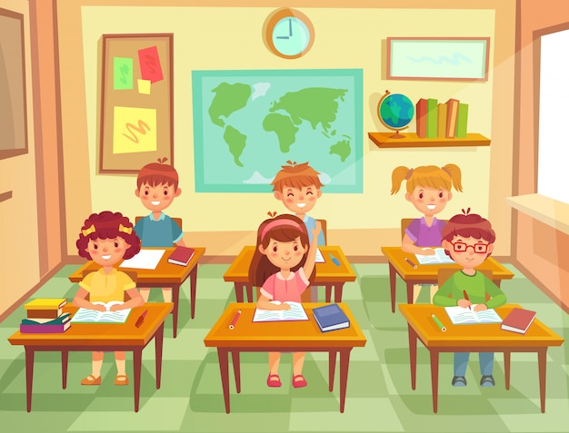 Bambini in classe. bambini delle scuole elementari ai banchi a lezione