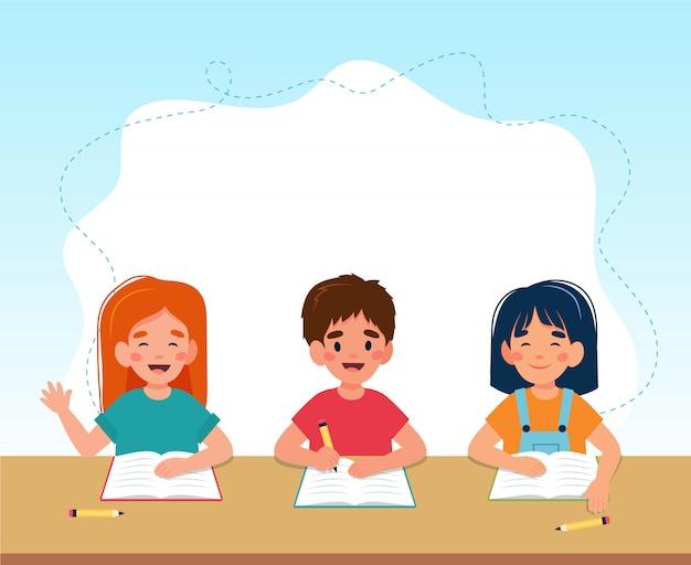 Bambini in classe che leggono e scrivono, ritorno al concetto di scuola, simpatici personaggi