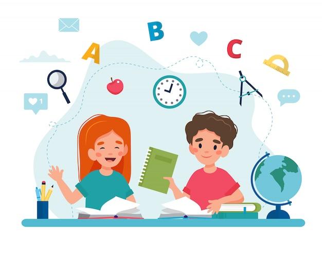 Bambini in classe che leggono, ritorno al concetto di scuola, simpatici personaggi.