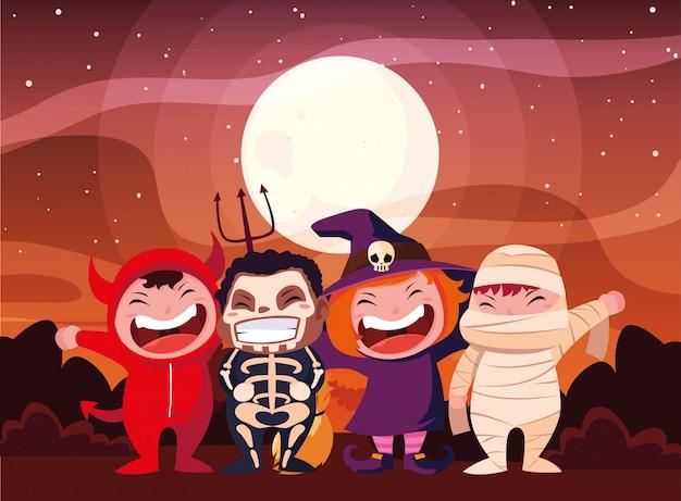 Bambini in costume di halloween