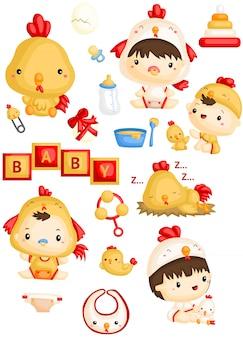 Bambini in costume di pollo