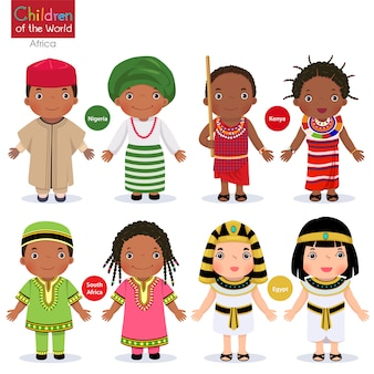 Bambini in diversi costumi tradizionali. nigeria, kenya, sud africa, egitto.