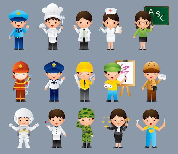 Bambini in diversi set di lavoro