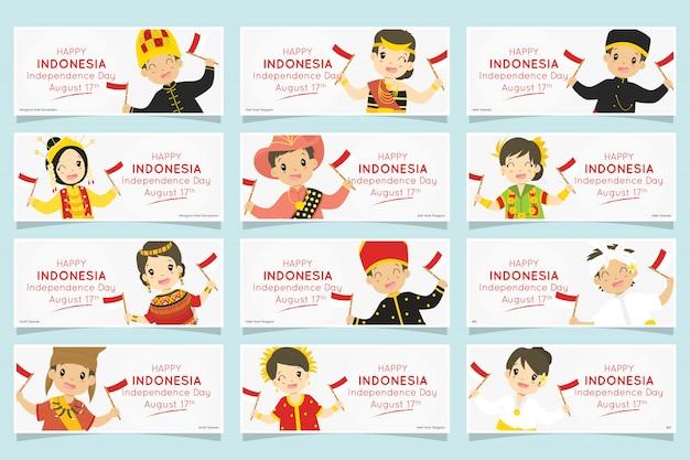 Bambini indonesiani in abiti tradizionali. insieme dell'insegna di festa dell'indipendenza dell'indonesia