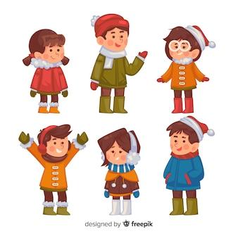 Bambini invernali disegnati a mano