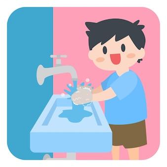 Bambini little boy lavarsi le mani con sapone