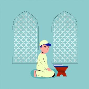 Bambini musulmani che pregano nell'illustrazione della moschea