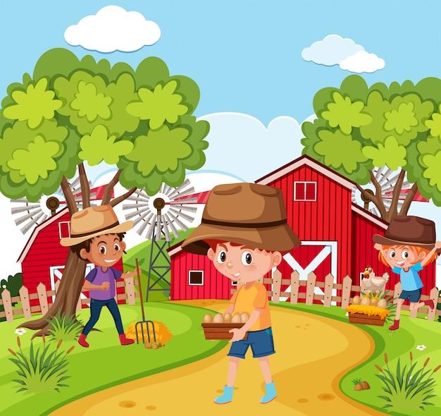Bambini nella fattoria della natura