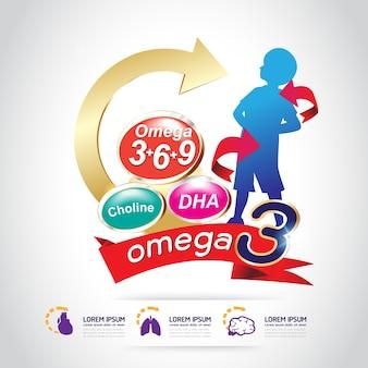 Bambini omega 3 e vitamina vector