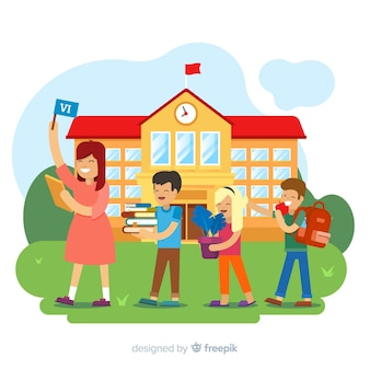 Bambini piatti torna a scuola sfondo