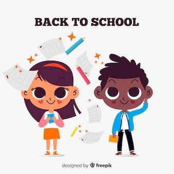 Bambini piatti tornano a scuola
