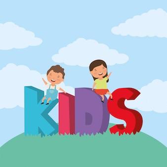 Bambini piccoli con scritte per bambini nella zona