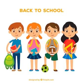Bambini preparati per la scuola