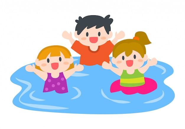 Bambini, ragazzi e ragazze felici che nuotano in spiaggia o in piscina