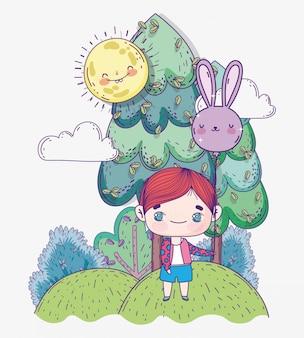 Bambini, ragazzino carino con paesaggio di coniglio a forma di palloncino