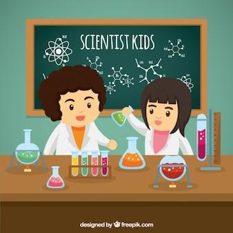 Bambini scienziato con esperimenti in laboratorio