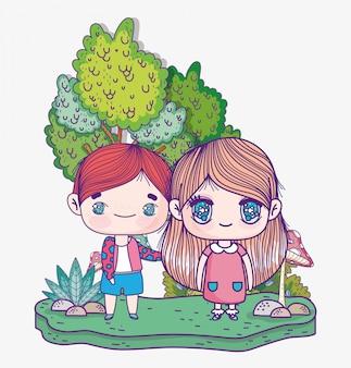 Bambini, simpatico ragazzino e ragazza cartone animato anime nel parco naturale