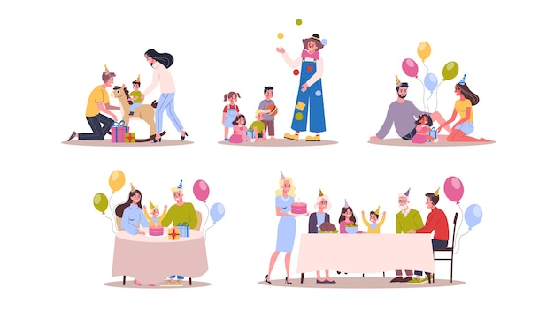 Bambini sul set di compleanno. festa per bambini, torta grande e dolce. decorazione di compleanno. illustrazione in stile cartone animato
