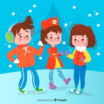 Bambini sullo sfondo di neve invernale