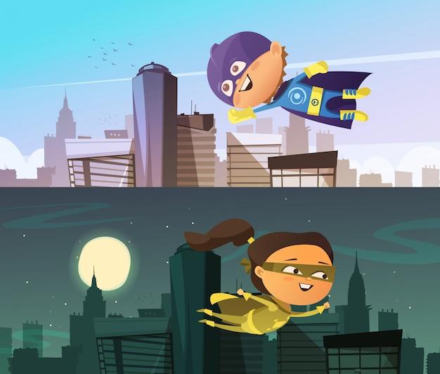 Bambini supereroi due stendardi orizzontali piatti con figurine di cartone animato ragazzo e ragazza vestite