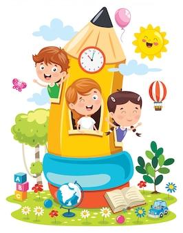 Bambini svegli che giocano alla casa della matita