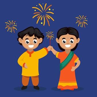 Bambini svegli delle coppie con l'illustrazione del carattere di tema di festival di diwali india