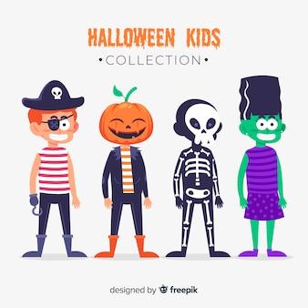 Bambini vestiti da mostri per il design piatto di halloween
