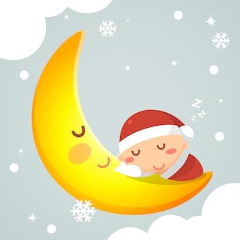Bambino addormentato in costume di natale sulla luna. stagione delle vacanze natale e capodanno.